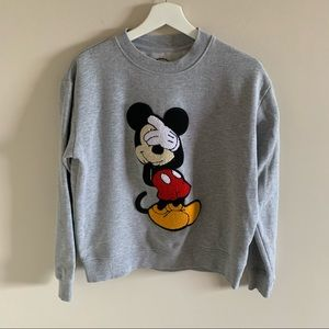 Disney Mickey Mouse Embroidered Grey Crew Sweater